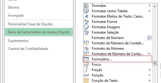 formulário Excel Barra de Ferramentas