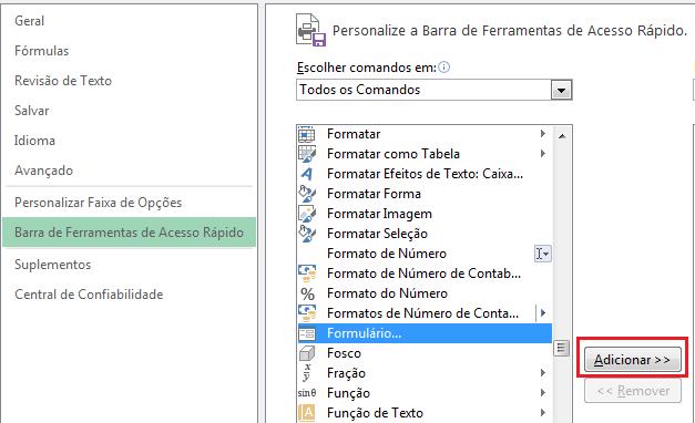 Formulário Excel download