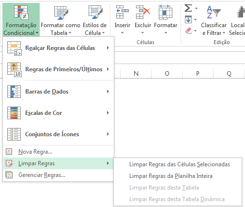 Como remover formatação condicional no Excel