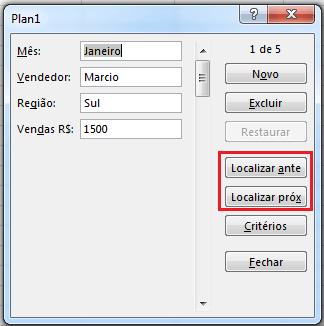 formulário em Excel