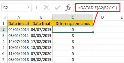 Como calcular anos entre duas datas no Excel