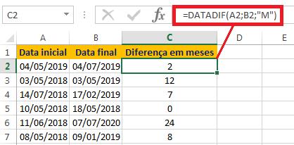 Calcular meses entre duas datas no Excel