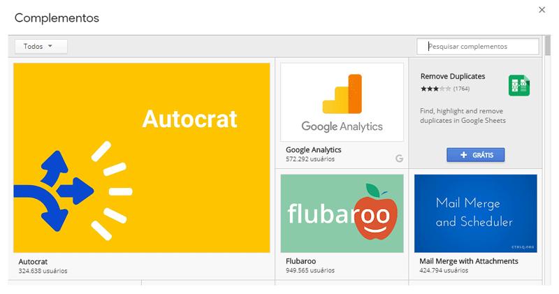 instalar complementos Google Planilhas