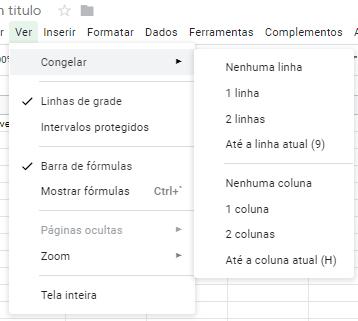 Congelar linha e colunas no Google Sheets