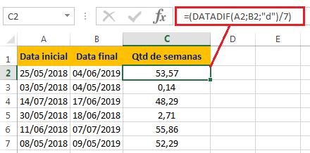 Como Calcular Diferença entre Datas em Semanas no Excel