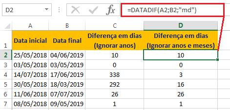 como calcular a diferença de dias no Excel - DATADIF