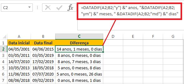 Como calcular a diferença de datas em dias, meses e anos no Excel