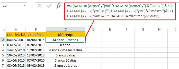 diferença de datas em dias, meses e anos no Excel