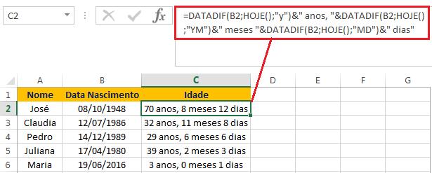 Como calcular a idade com a função DATADIF no Excel