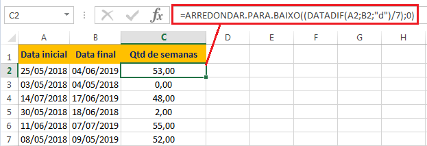 Diferença em Semanas no Excel