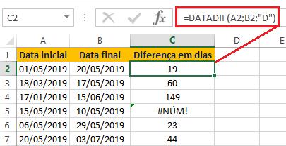 Calcular a diferença de datas em dias no Excel
