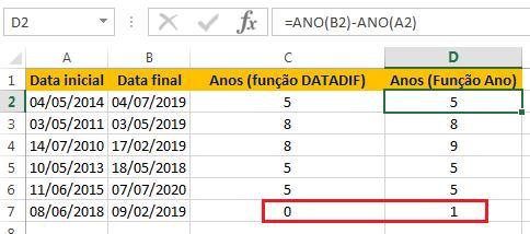 Como usar a função ANO no Excel