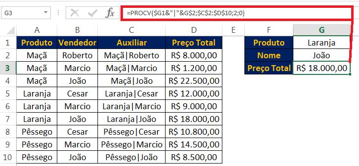 Função PROCV várias condições no Excel