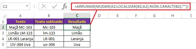 Fórmula para subtrair texto (se distinção entre maiúsculas e minúsculas)