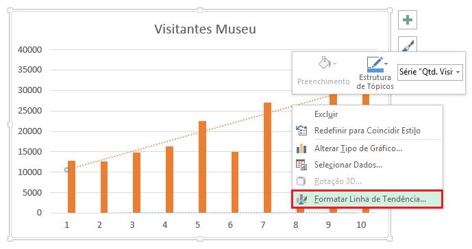 Formatando Linha de Tendência no Excel