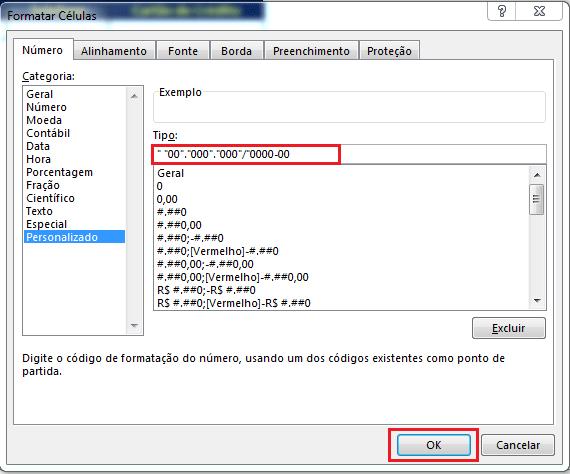 cnpj excel como criar formatação