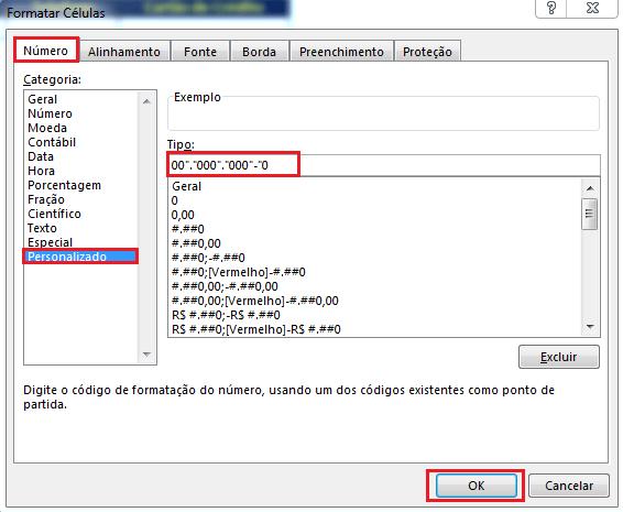 Formato de RG no Excel