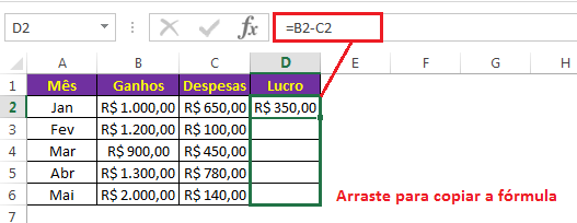 Como subtrair colunas no Excel