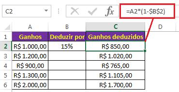 Veja Como subtrair porcentagem no Excel