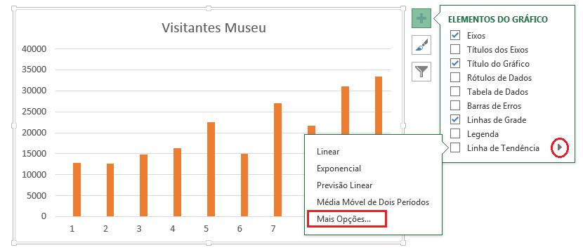 Tipos de linhas de tendência no Excel
