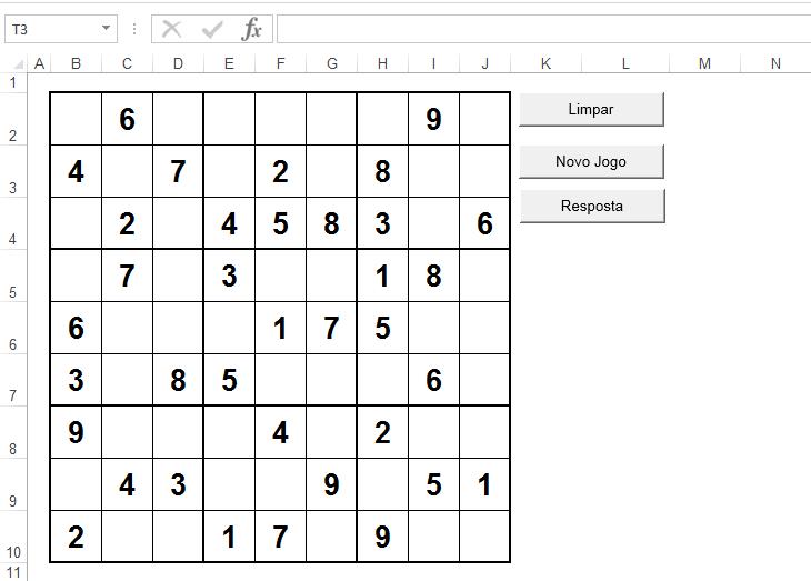 Sudoku no Excel planilha