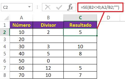 Tratando o erro #DIV/0! com a função SE