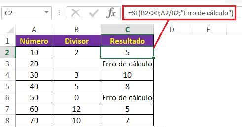 #DIV/0! com a função SE Excel
