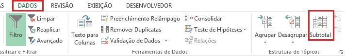 Inserindo subtotais no Excel