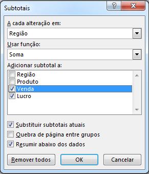 Excel Subtotais
