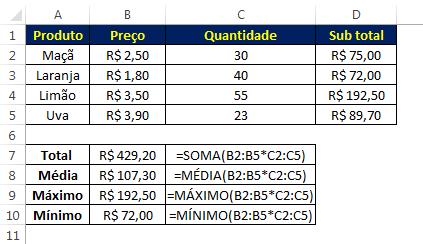 fórmulas de matriz multiplicação no Excel