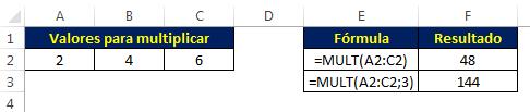 Multiplicar no Excel com a função MULT