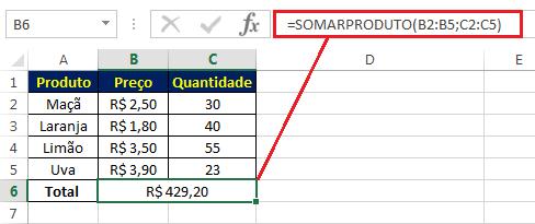 multiplicar e somar no Excel