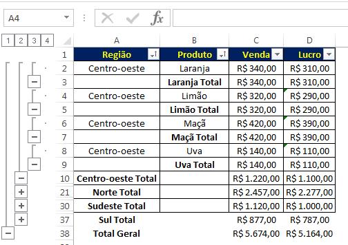 subtotal aninhado no Excel