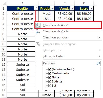 Organizando os dados de origem