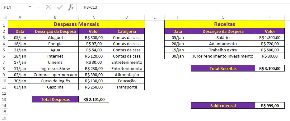 Saldo mensal e total por categoria - orçamento pessoal Excel