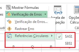 Encontrar Excel referência circular