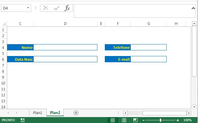 imprimir formulário de cadastro no Excel