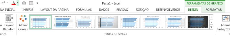 guias Design e Formatar gráfico de barras no excel