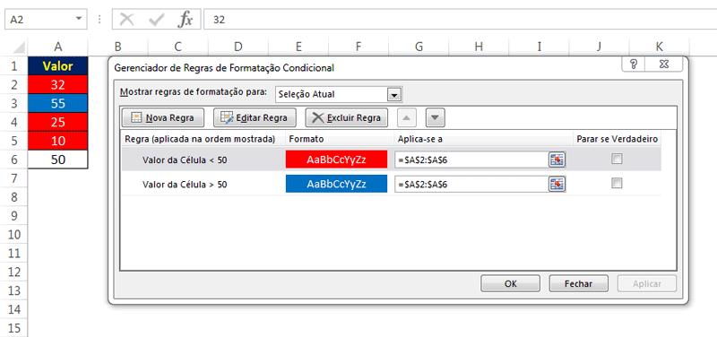 Operadores lógicos com Formatação Condicional