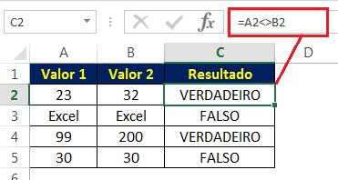 Sinal de Diferente de (<>) para comparar valores numéricos - operadores lógicos no Excel