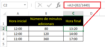 Tempo inicial + (número de minutos a serem adicionados / 1440)