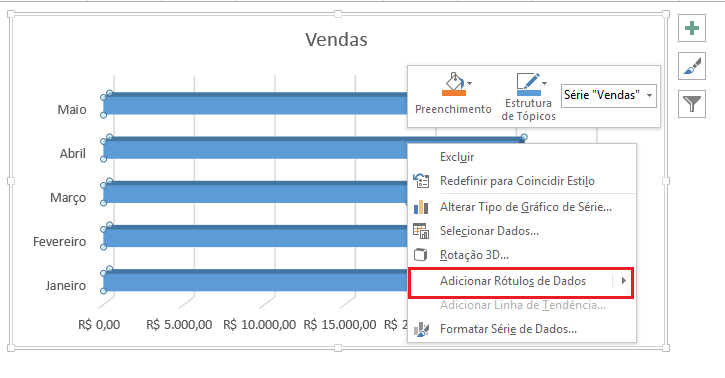 inserir rótulo em gráfico de barras 3d