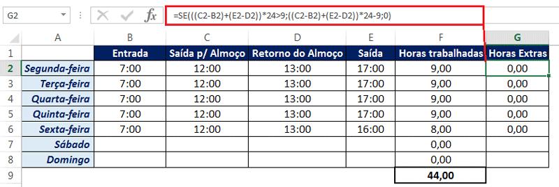 fórmula para calcular horas extras no excel