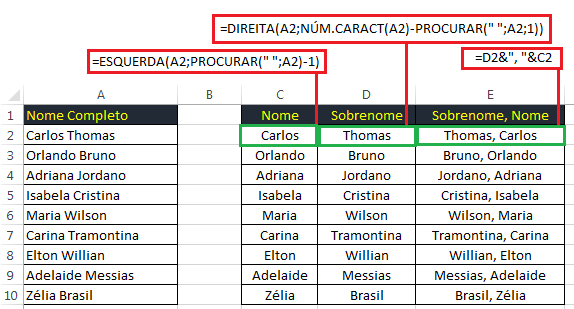 sobrenome em ordem alfabética no Excel