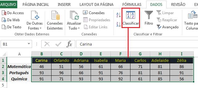 Como colocar linhas em ordem alfabética no Excel