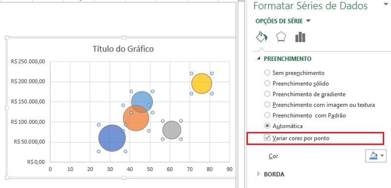 formatar gráfico de bolhas no Excel
