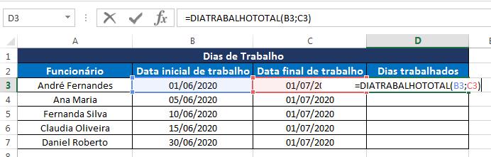 função DIATRABALHOTOTAL no Excel