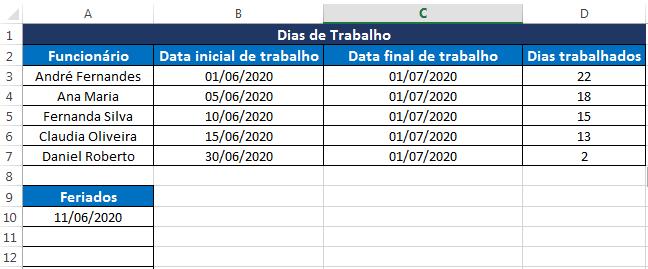 DIATRABALHOTOTAL no Excel, exemplo 2