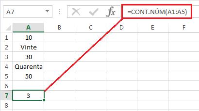 Exemplo Função CONT.NÚM