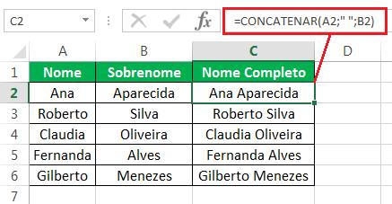 Função CONCATENAR no Excel